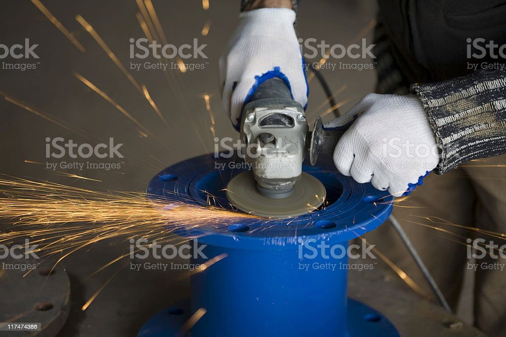 Grinding Blue Color flange: sparks royalty-free stock photo