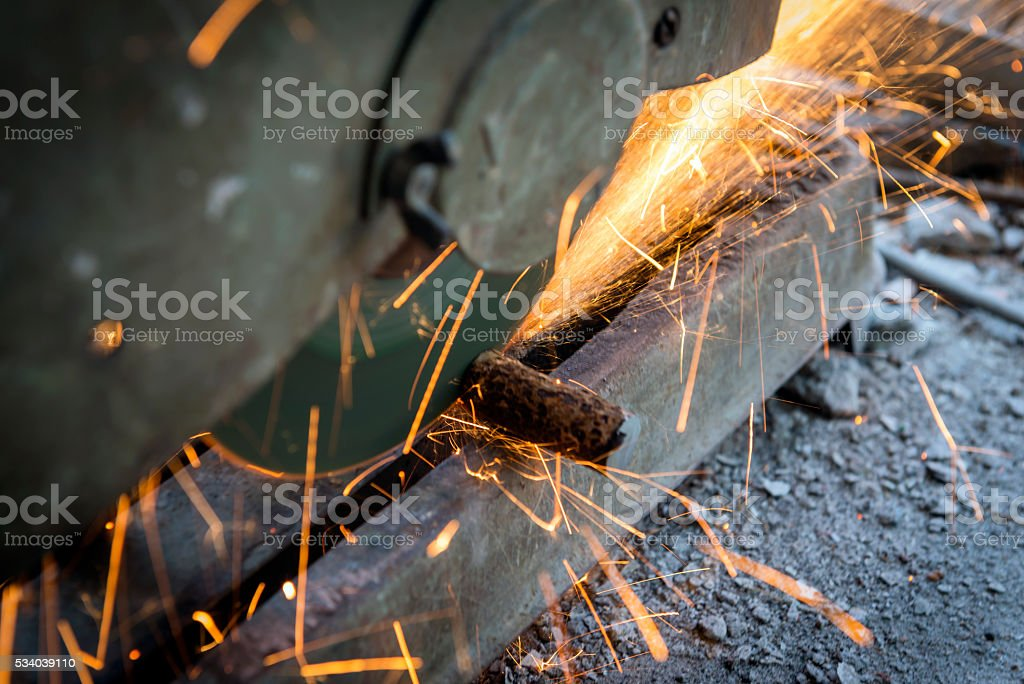 Grinding Cutting Sparks stock photo