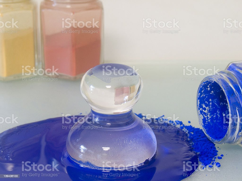 Grinding dry pigments for paint royalty-free stock photo
