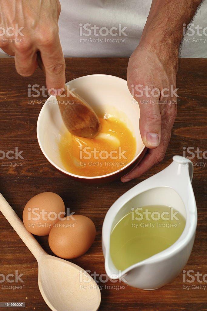Grinding Egg Yolk royalty-free stock photo