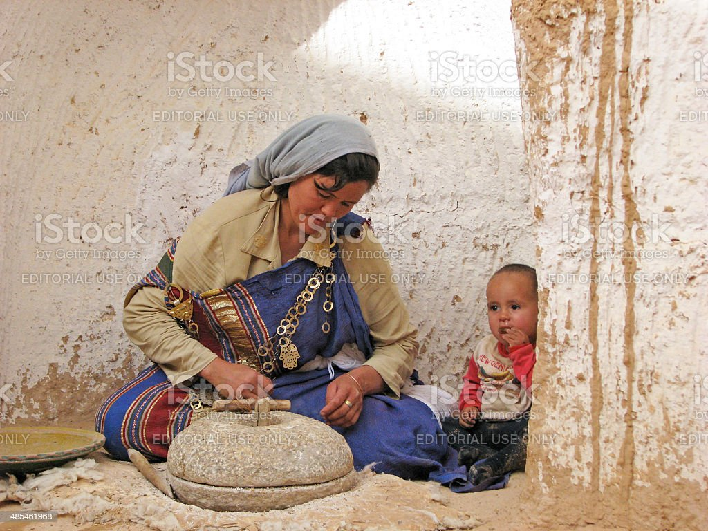 Grinding Grain in Tunisia stock photo