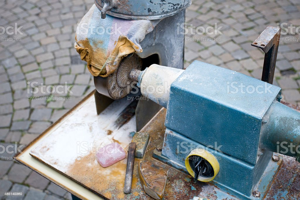 Grinding machine, jewelry makers workplace stock photo