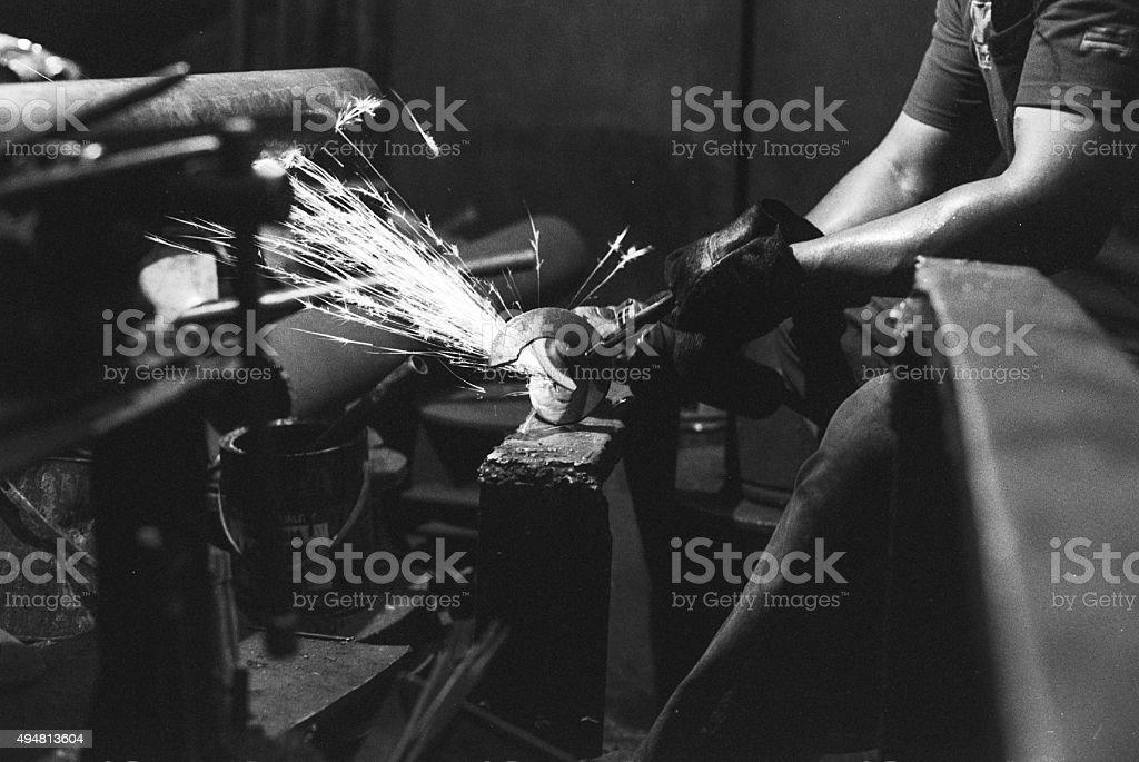 Grinding Metal stock photo