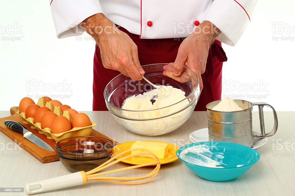 Grinding Sour Cream and Sugar royalty-free stock photo