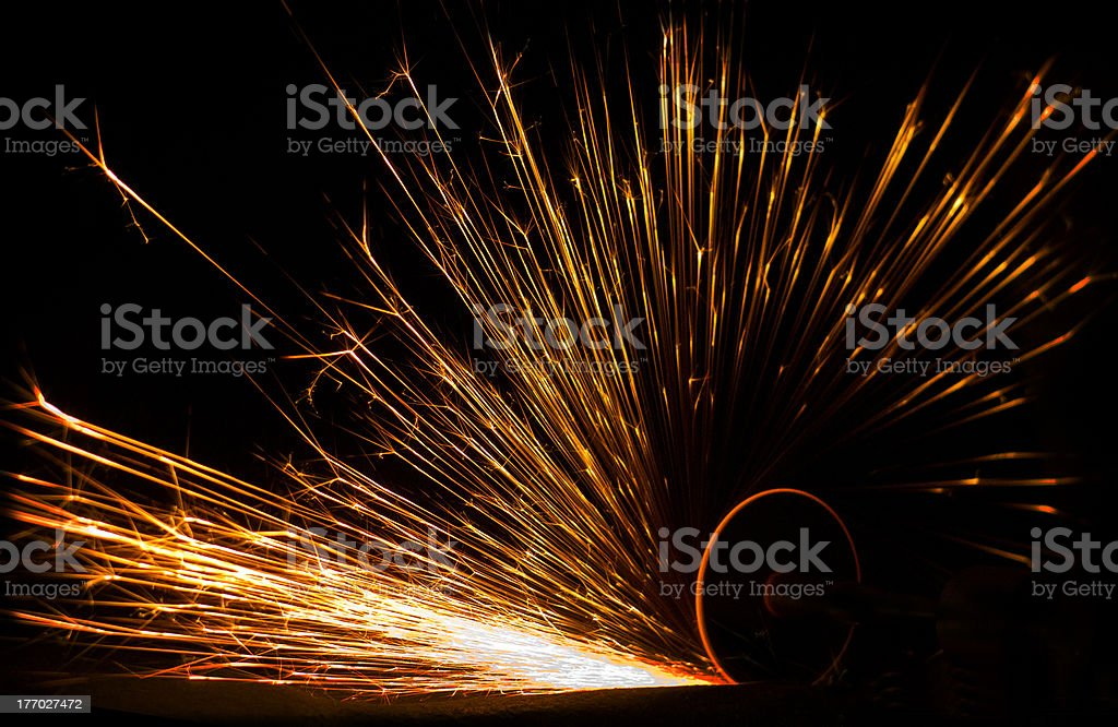 Grinding Sparks stock photo