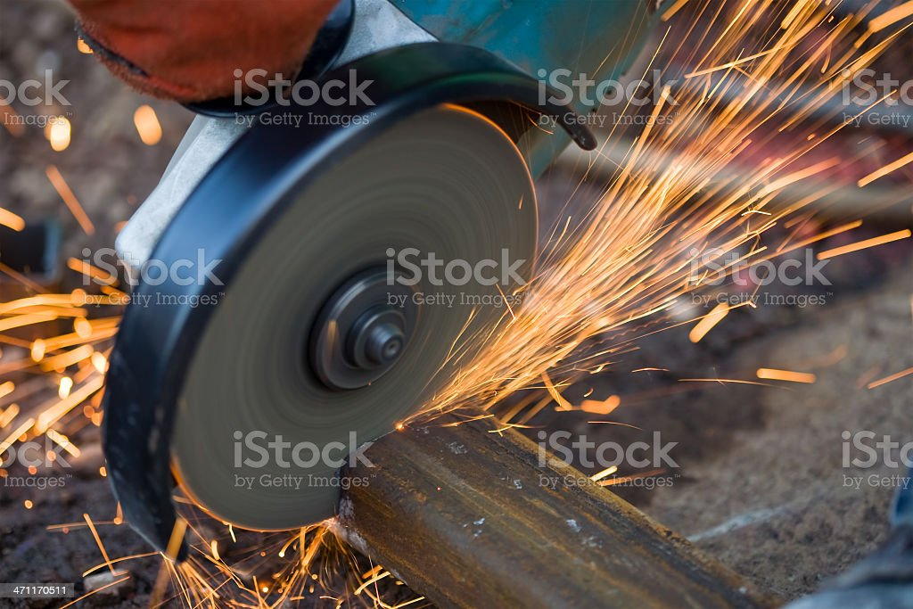 grinding: sparks royalty-free stock photo