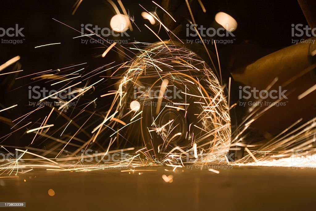 Grinding with sparks royalty-free stock photo