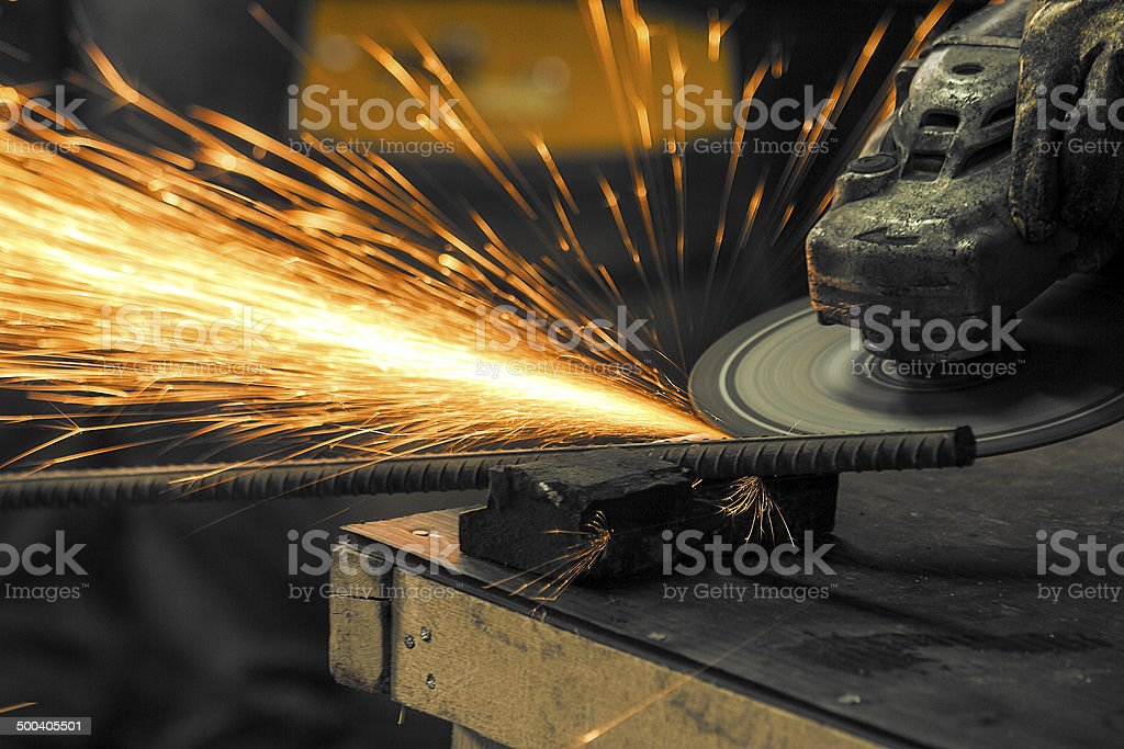 Grinding with sparks stock photo