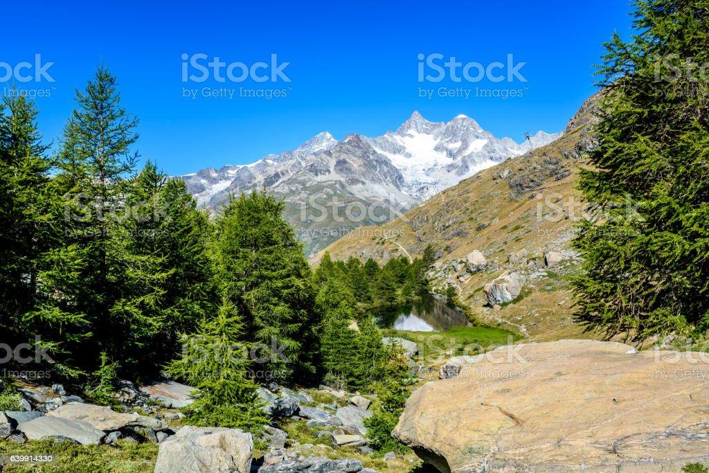 Grindjisee - Lake Matterhorn at Zermatt, Switzerland stock photo