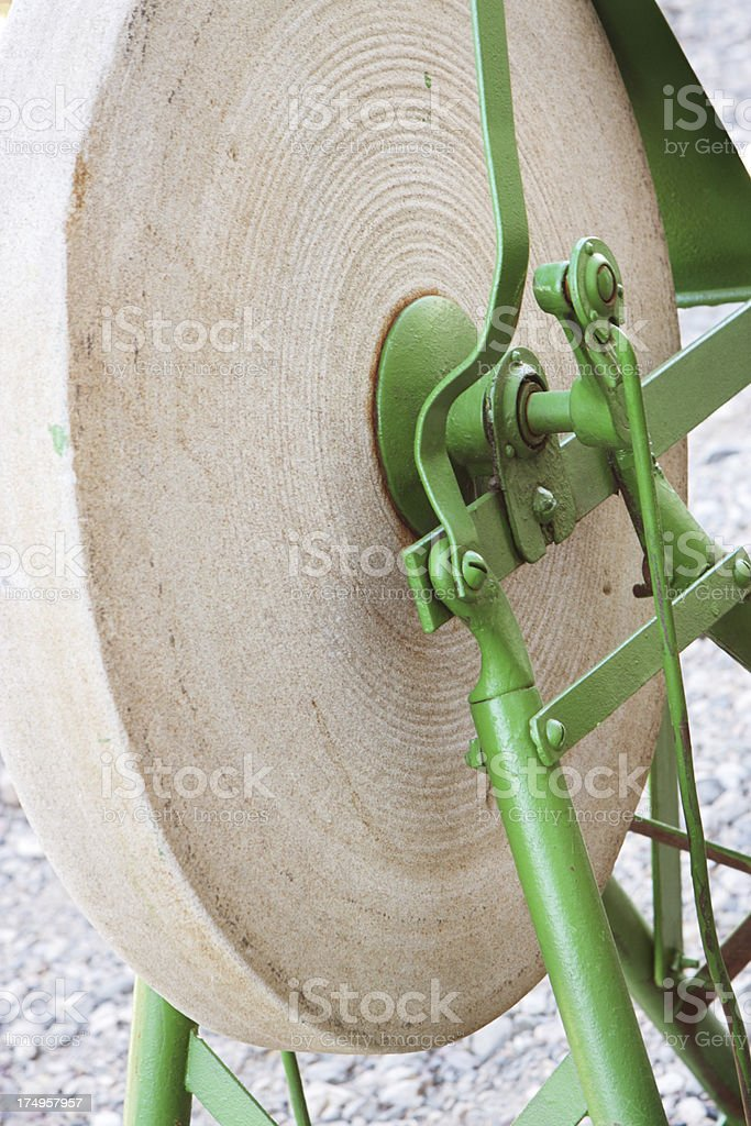 Grindstone Antique Sharpening Tool royalty-free stock photo