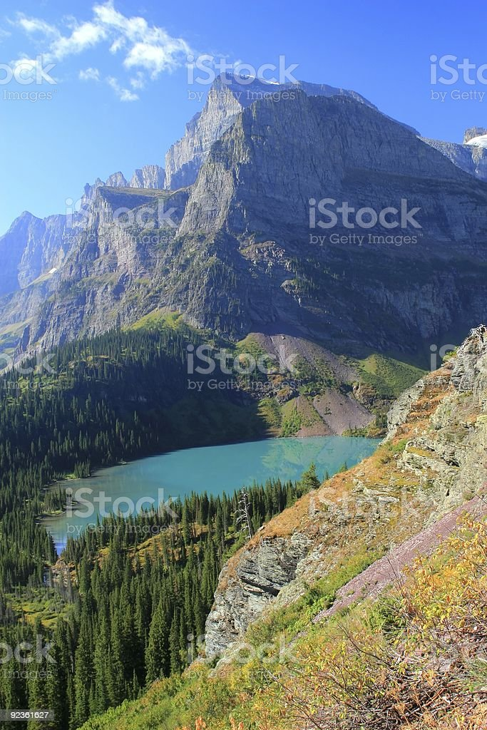 Grinnell Lake and Angel Wing Mountain stock photo