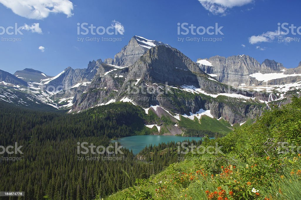 Grinnell Lake in Glacier National Park stock photo