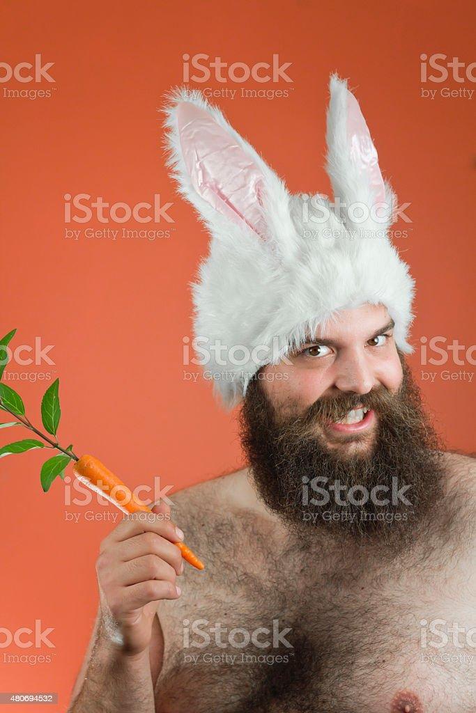 Grinning Bunny Man stock photo