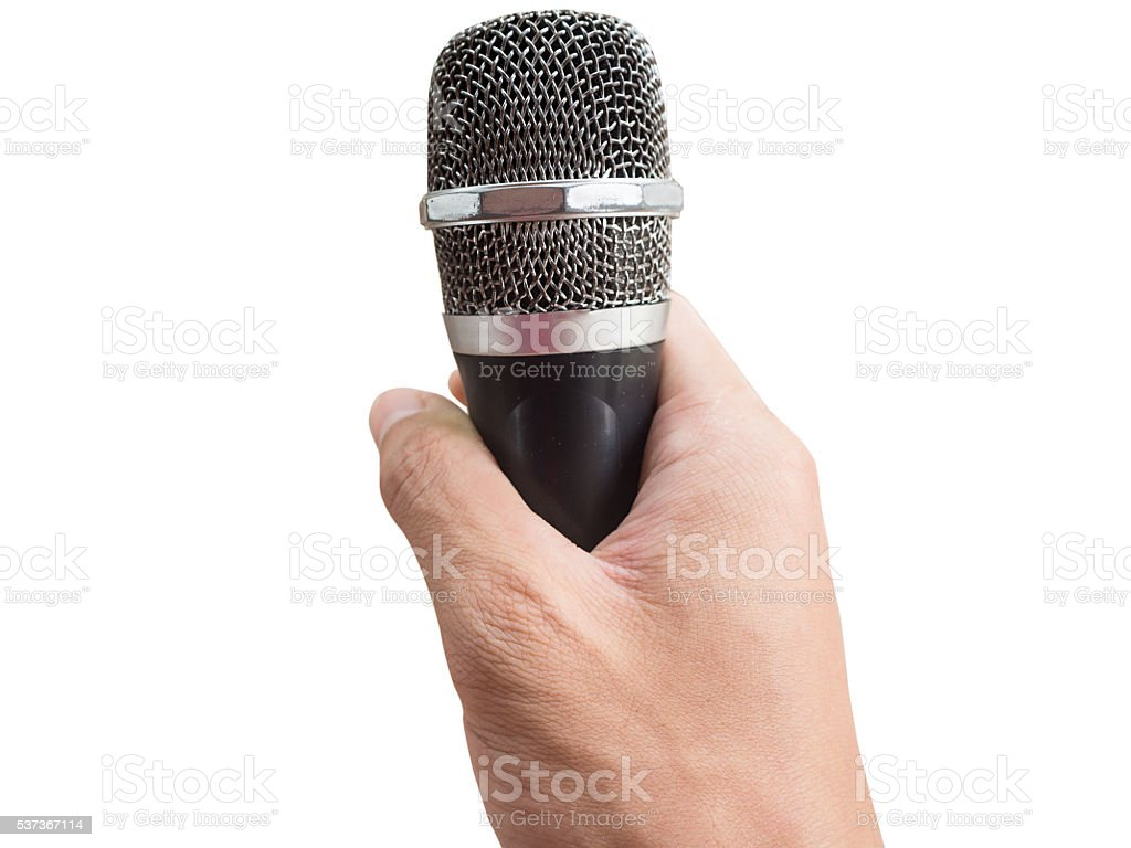 grip Mike sings isolated on white background stock photo