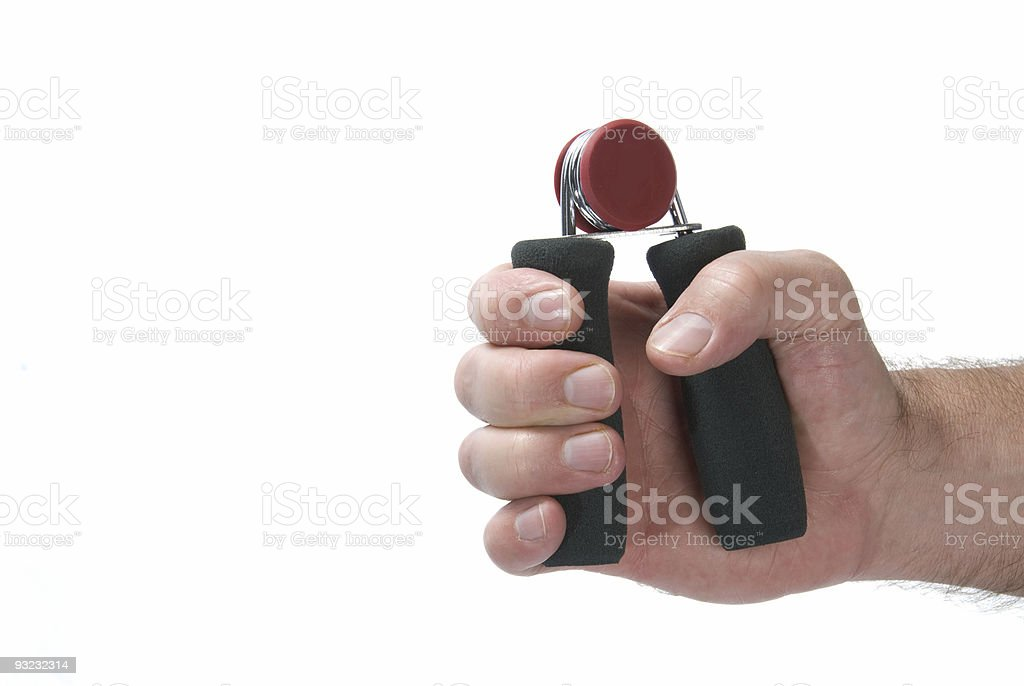 A gripping exercise working out muscles in your hand stock photo