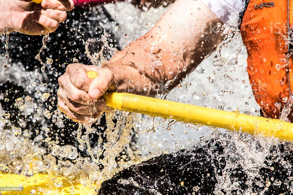 Gripping the Paddle through Sunshine Falls, Royal Gorge, CO stock photo