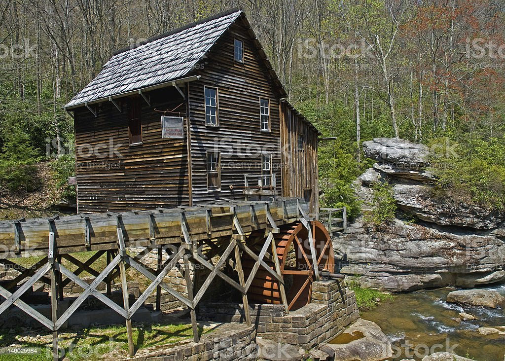 Grist Mill and Rocks in West Virginia royalty-free stock photo