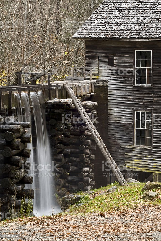 Grist Mill Aquaduct Waterfall at Great Smokey Mtns. National Park royalty-free stock photo