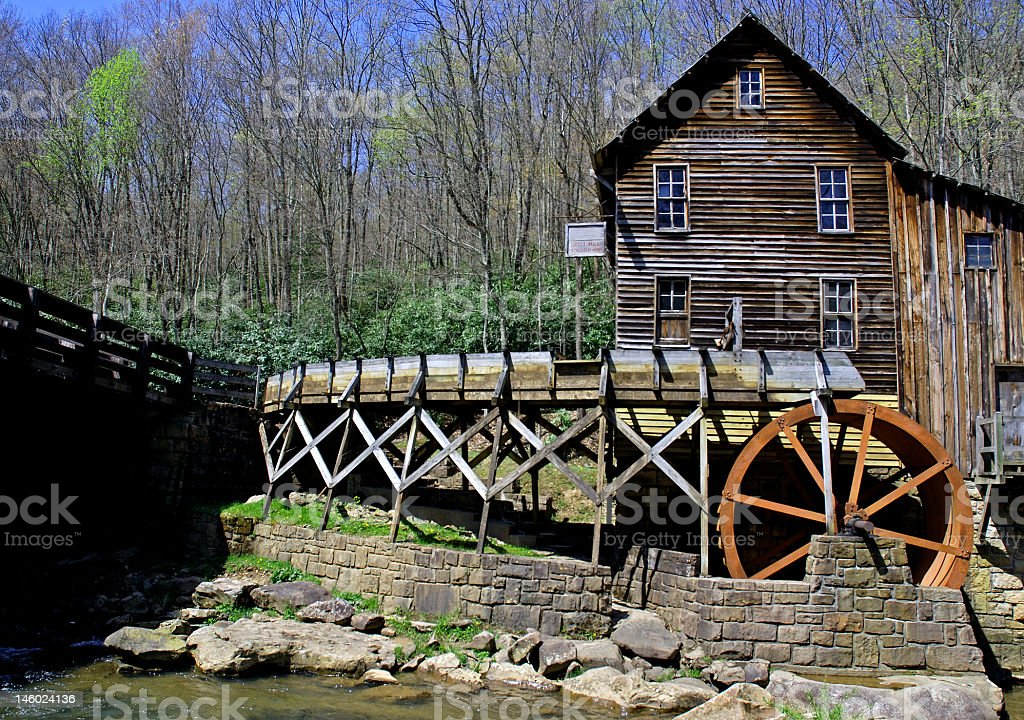 Grist Mill in Early Spring  West Virginia royalty-free stock photo