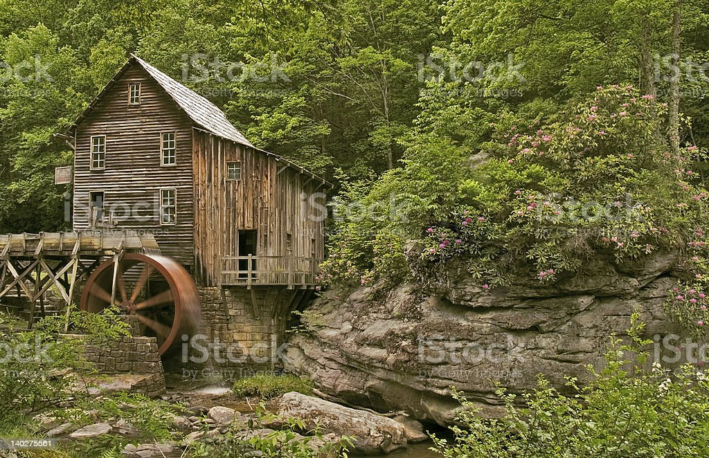 Grist Mill in Spring stock photo