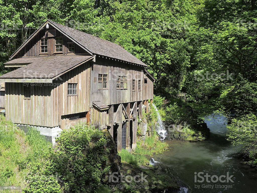 Grist Mill Washington State Historic Landmark Cedar Creek stock photo