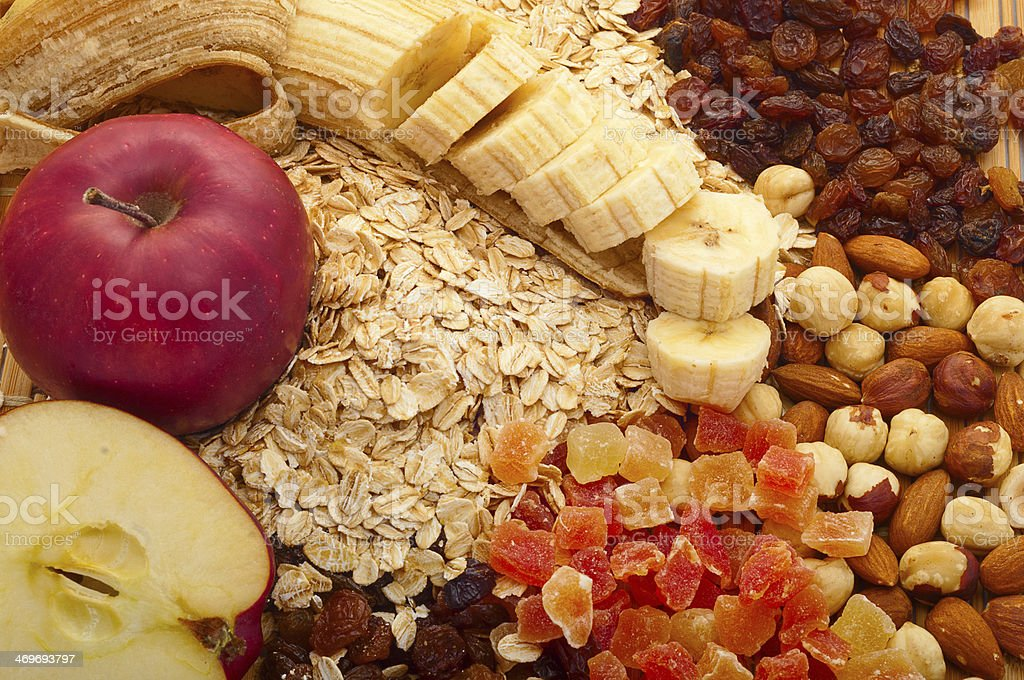 grits with apples, bananas, raisins, stock photo