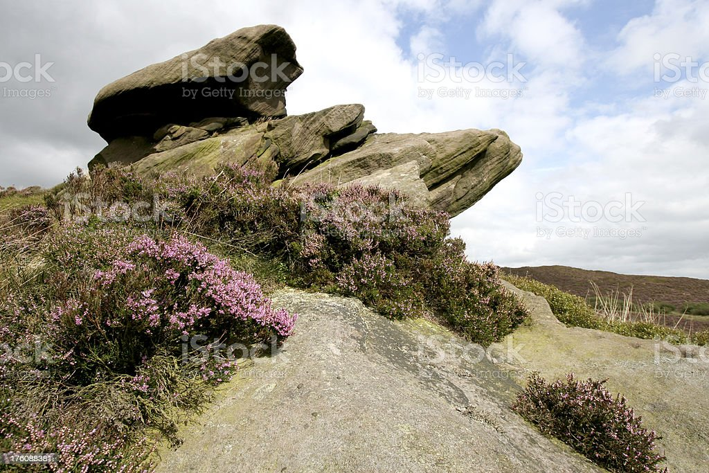 gritstone rocks, Peak District National Park, The Roaches stock photo