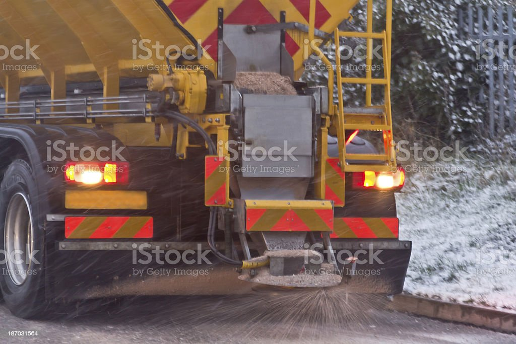 Gritter on winters day stock photo