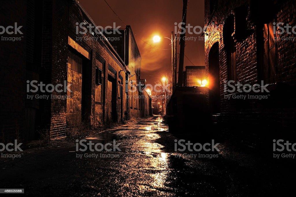 Gritty Dark Urban Alleyway stock photo