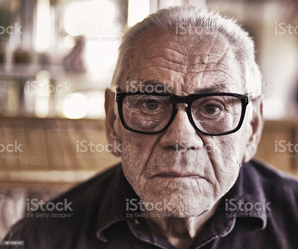 Gritty Old Man Staring stock photo