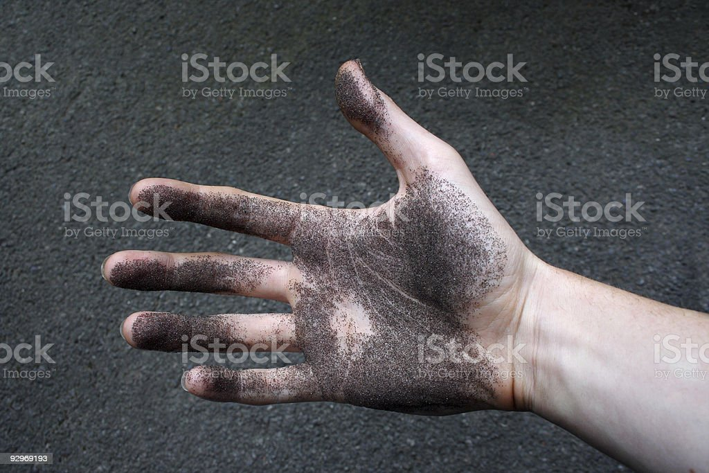 Gritty out stretched hand royalty-free stock photo
