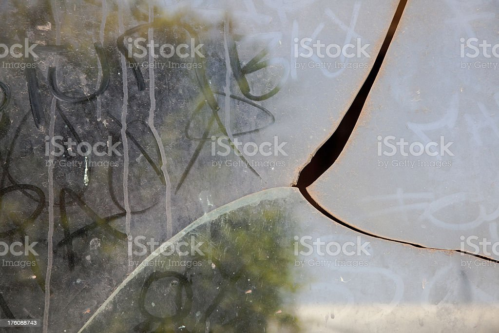 Gritty Shattered Glass Window Pane royalty-free stock photo