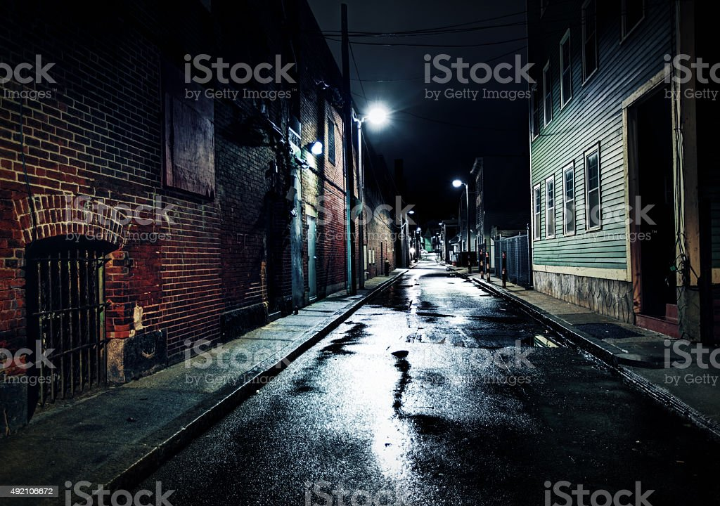 Gritty Urban Street in the Southie Neighborhood of Boston stock photo