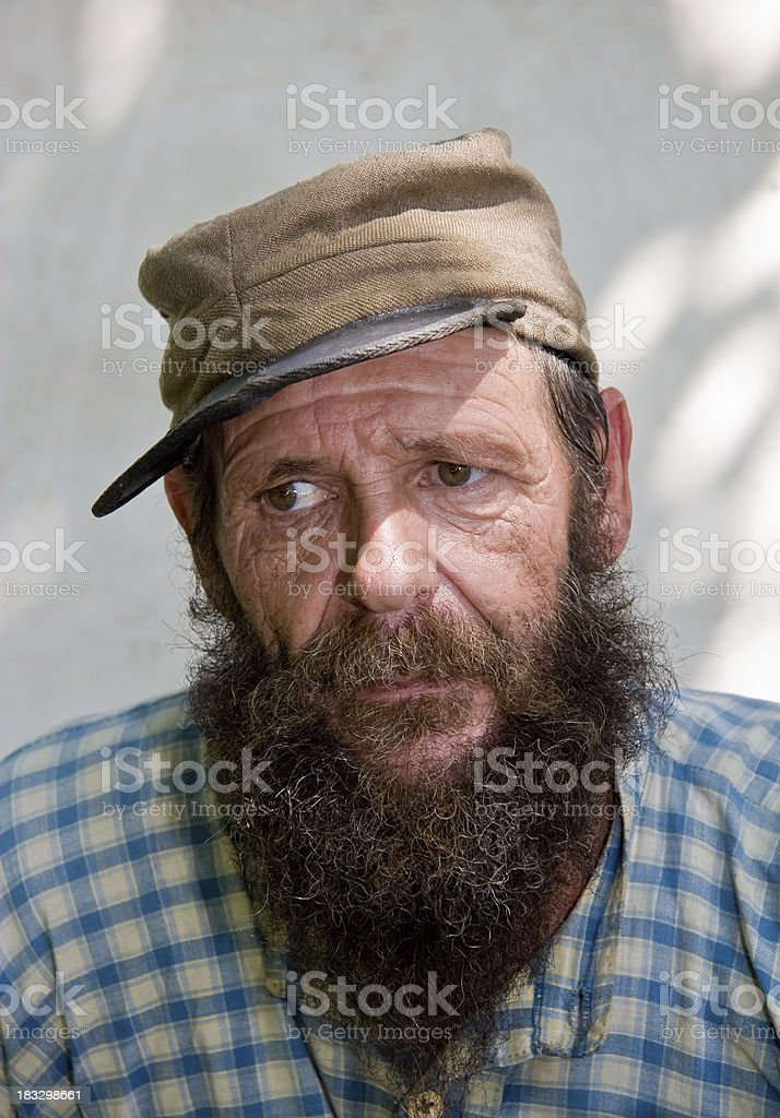 Grizzled Face of a Confederate Civil War Soldier stock photo