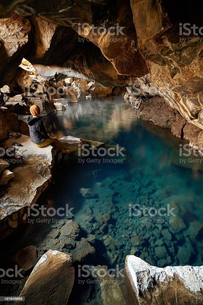 grjotagja cave Iceland stock photo