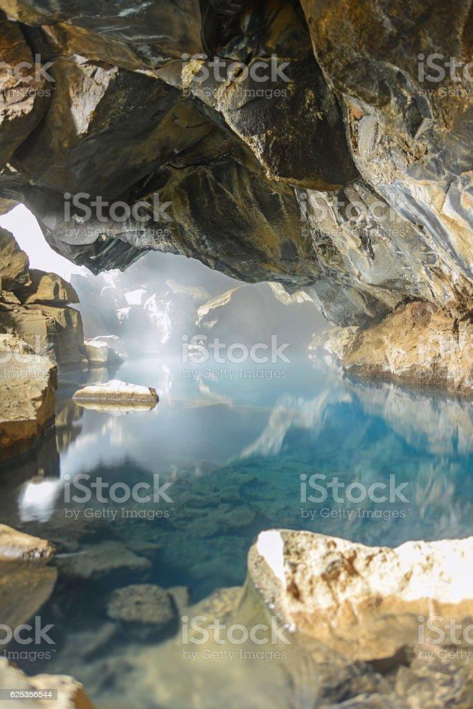 Grjótagjá cave in iceland stock photo