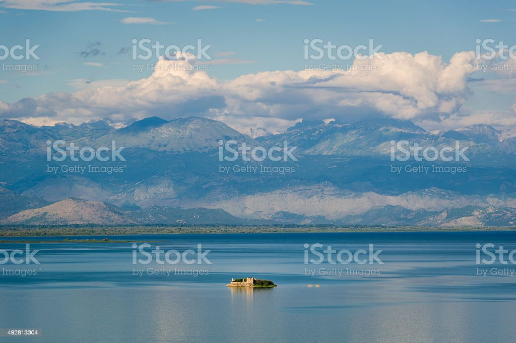 Grmozur ancient fortress on the Skadar lake stock photo