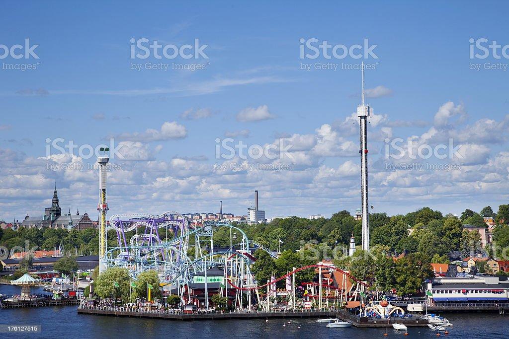 Gröna Lund amusement park in Stockholm Sweden. stock photo