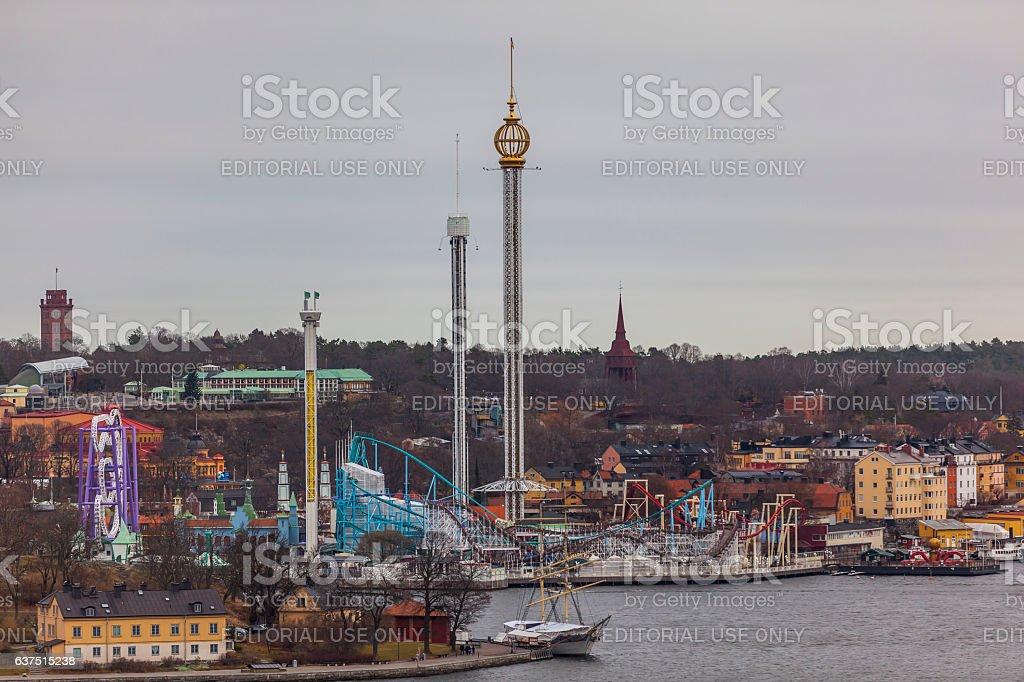 gröna lund amusement park in stockholm sweden stock photo