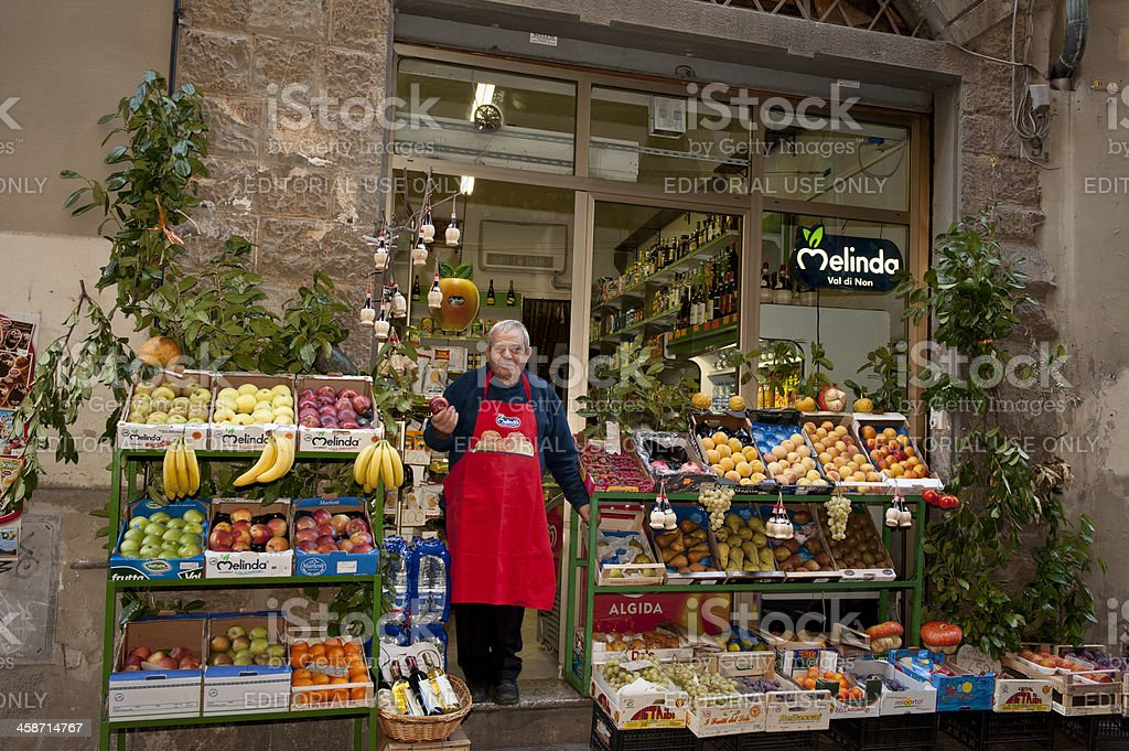grocer in Florence Italy stock photo