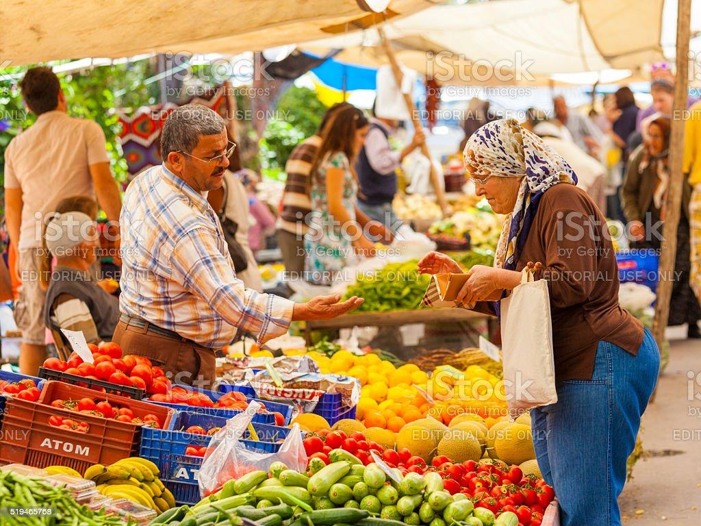 Grocer in Kas, Turkey stock photo