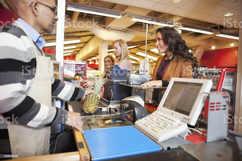 Grocer Store Checkout stock photo