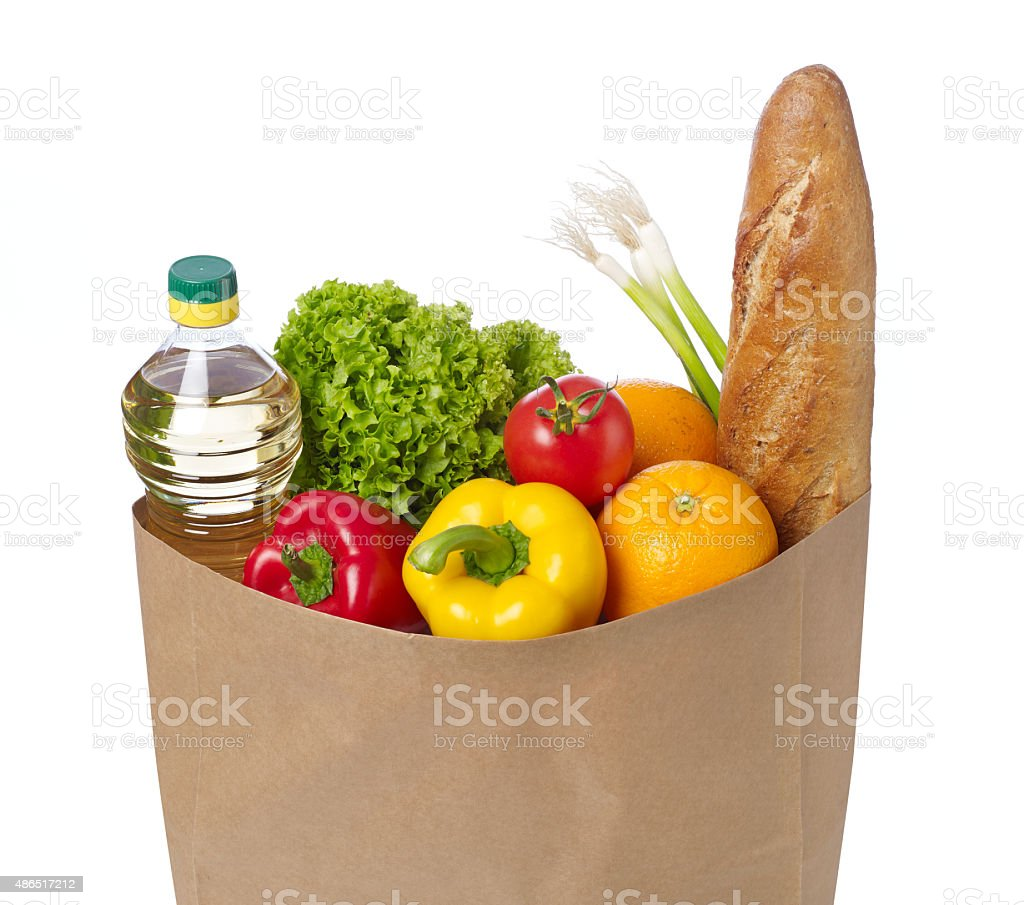 Groceries bag stock photo
