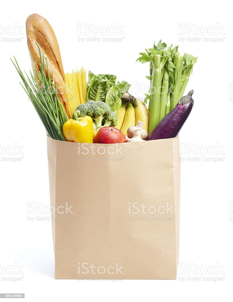 groceries in paper bag stock photo