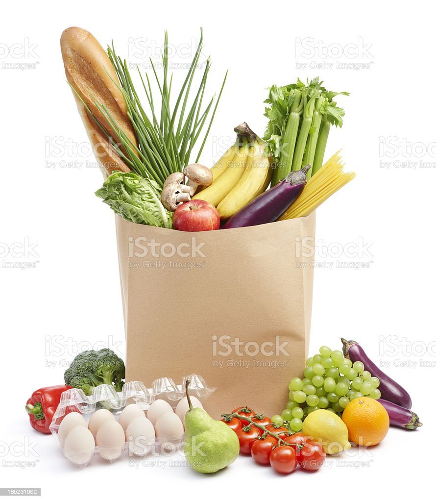 groceries in paper bag royalty-free stock photo