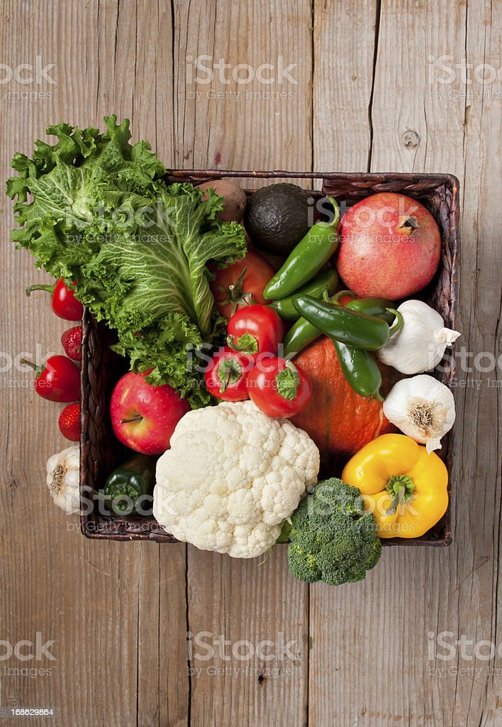 Groceries, Organic Vegetables and Fruits in Basket stock photo