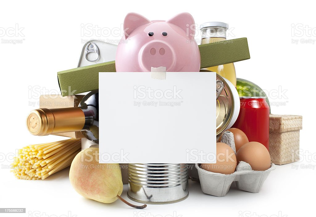 Groceries. Piggy bank with blank note. stock photo