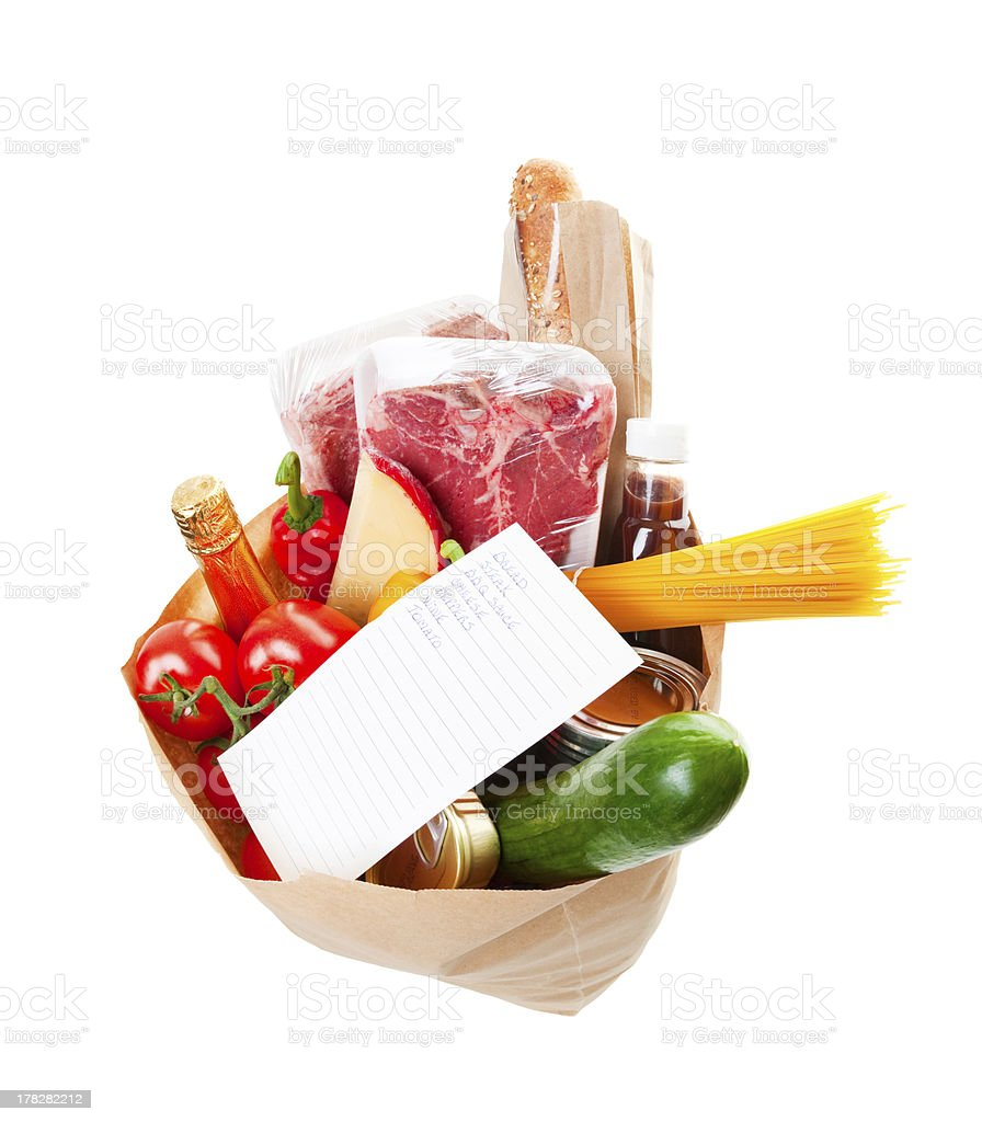 Groceries With List royalty-free stock photo