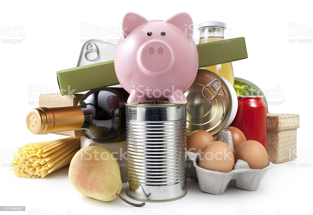 Groceries with piggy bank stock photo