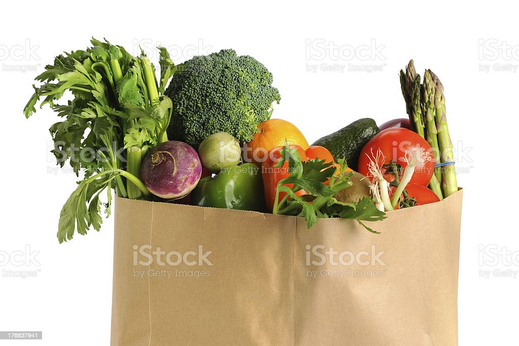 Grocery Bag With Fruits and Vegetables royalty-free stock photo